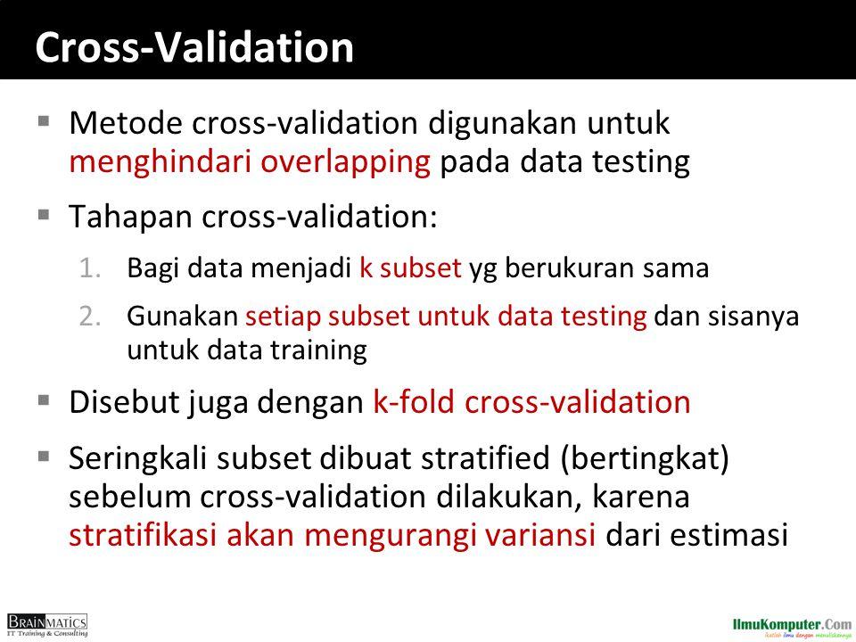 Cross-Validation  Metode cross-validation digunakan untuk menghindari overlapping pada data testing  Tahapan cross-validation: 1.Bagi data menjadi k