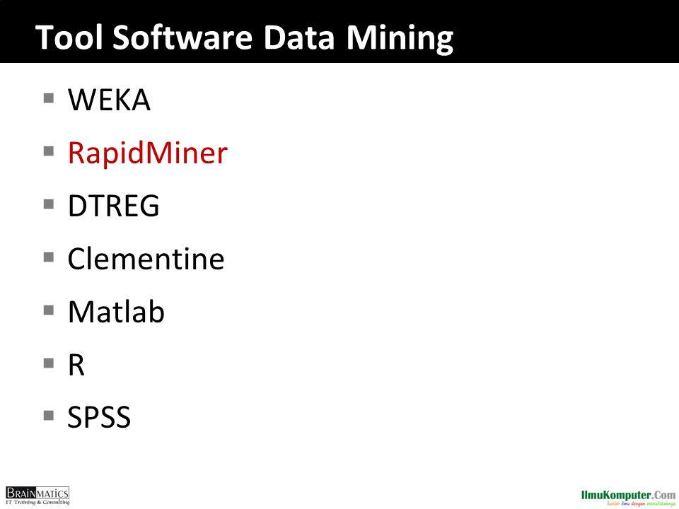 Tool Software Data Mining  WEKA  RapidMiner  DTREG  Clementine  Matlab  R  SPSS