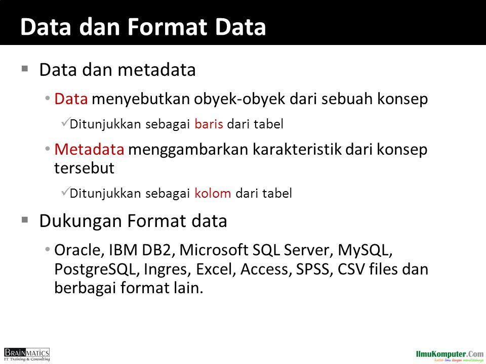 Data dan Format Data  Data dan metadata Data menyebutkan obyek-obyek dari sebuah konsep Ditunjukkan sebagai baris dari tabel Metadata menggambarkan k