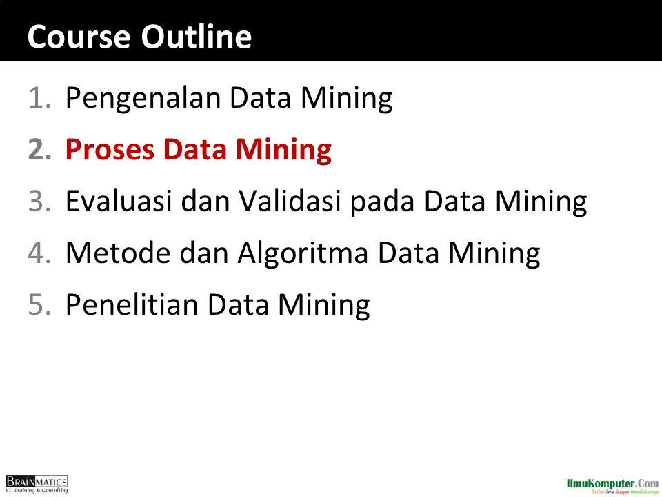 Course Outline 1.Pengenalan Data Mining 2.Proses Data Mining 3.Evaluasi dan Validasi pada Data Mining 4.Metode dan Algoritma Data Mining 5.Penelitian