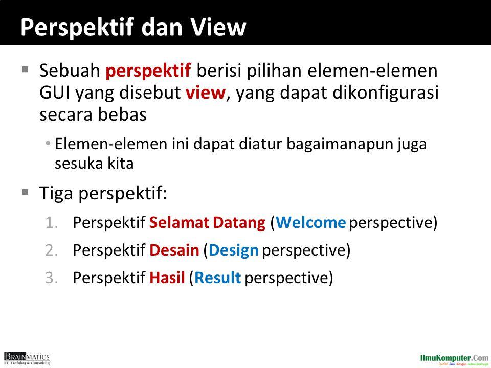 Perspektif dan View  Sebuah perspektif berisi pilihan elemen-elemen GUI yang disebut view, yang dapat dikonfigurasi secara bebas Elemen-elemen ini da