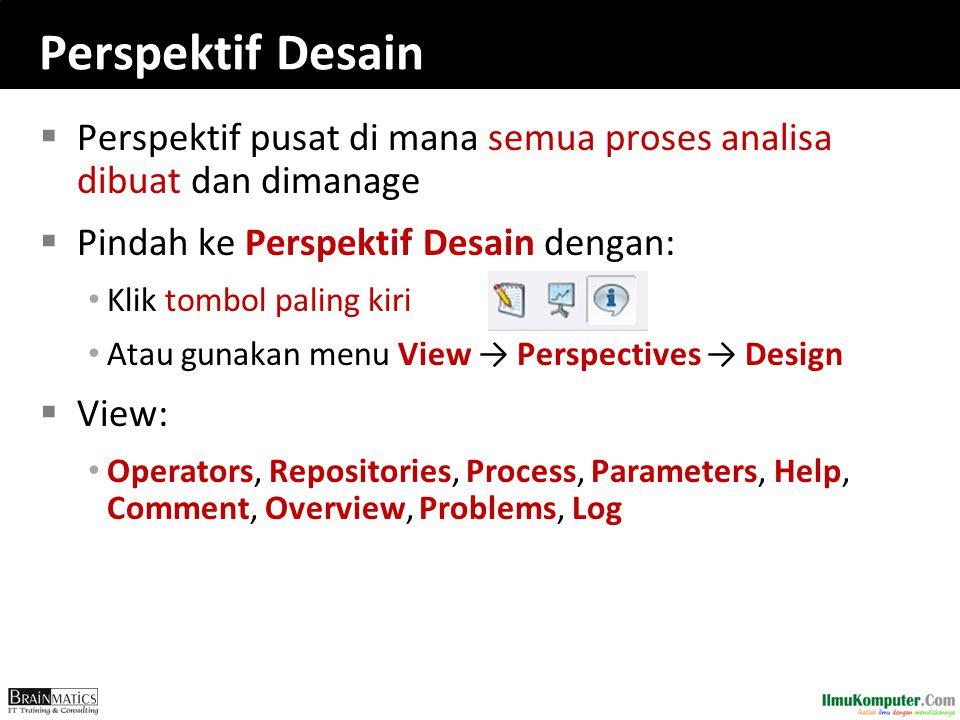 Perspektif Desain  Perspektif pusat di mana semua proses analisa dibuat dan dimanage  Pindah ke Perspektif Desain dengan: Klik tombol paling kiri At