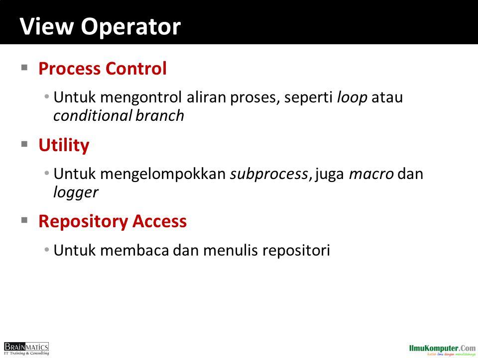 View Operator  Process Control Untuk mengontrol aliran proses, seperti loop atau conditional branch  Utility Untuk mengelompokkan subprocess, juga m