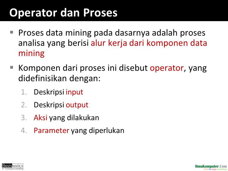 Operator dan Proses  Proses data mining pada dasarnya adalah proses analisa yang berisi alur kerja dari komponen data mining  Komponen dari proses i