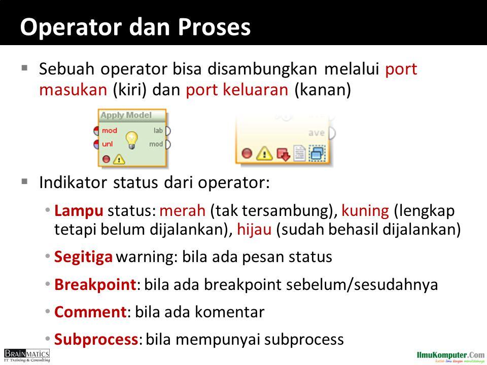 Operator dan Proses  Sebuah operator bisa disambungkan melalui port masukan (kiri) dan port keluaran (kanan)  Indikator status dari operator: Lampu