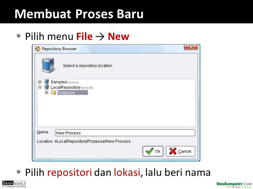 Membuat Proses Baru  Pilih menu File → New  Pilih repositori dan lokasi, lalu beri nama