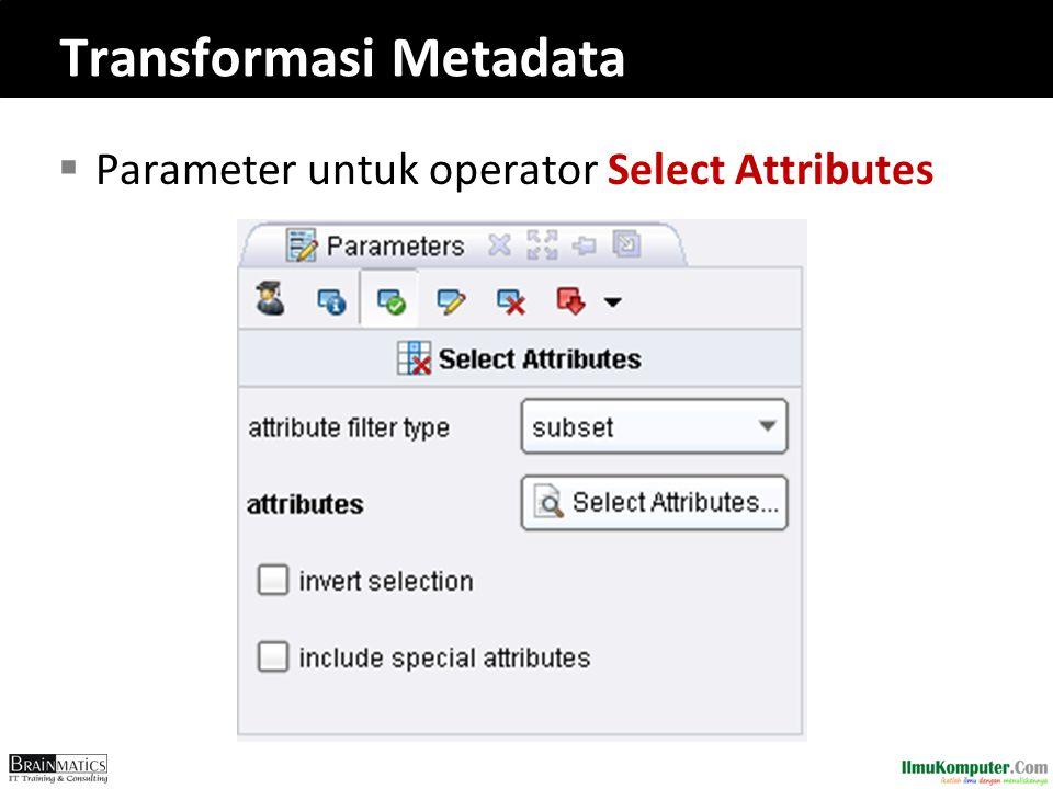 Transformasi Metadata  Parameter untuk operator Select Attributes