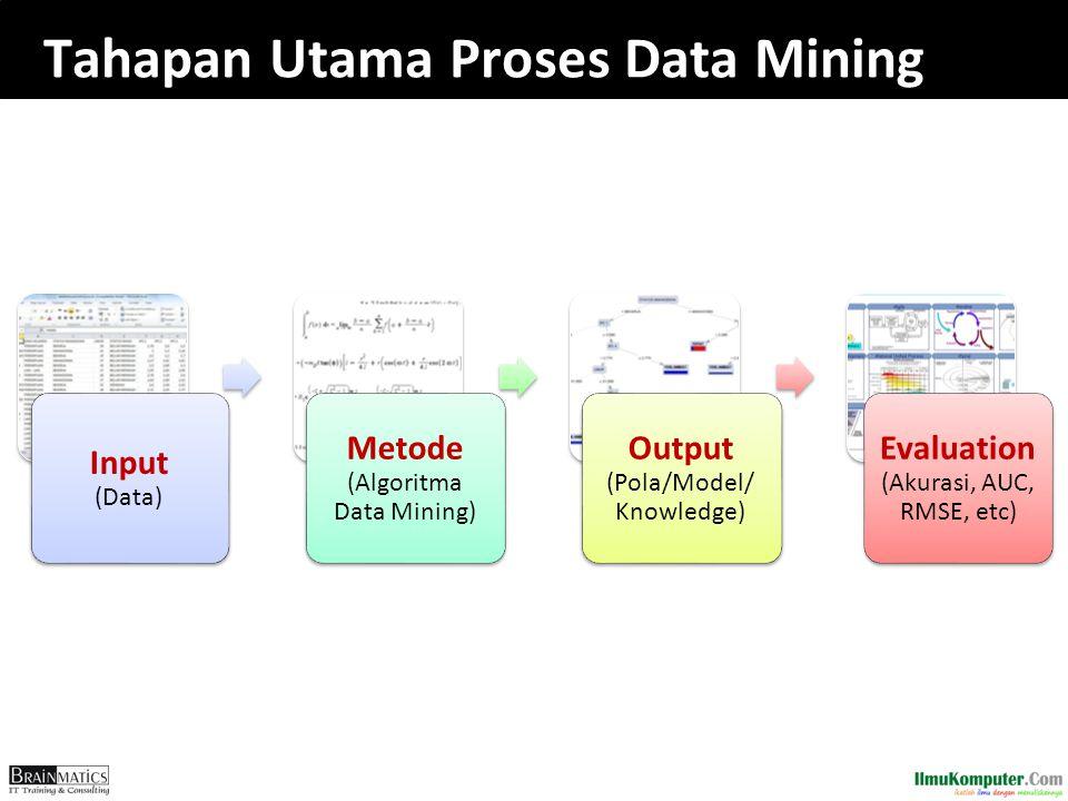 Tahapan Utama Proses Data Mining Input (Data) Metode (Algoritma Data Mining) Output (Pola/Model/ Knowledge) Evaluation (Akurasi, AUC, RMSE, etc)