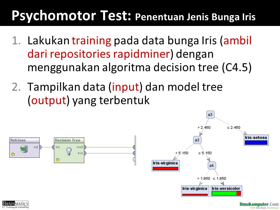 Psychomotor Test: Penentuan Jenis Bunga Iris 1.Lakukan training pada data bunga Iris (ambil dari repositories rapidminer) dengan menggunakan algoritma