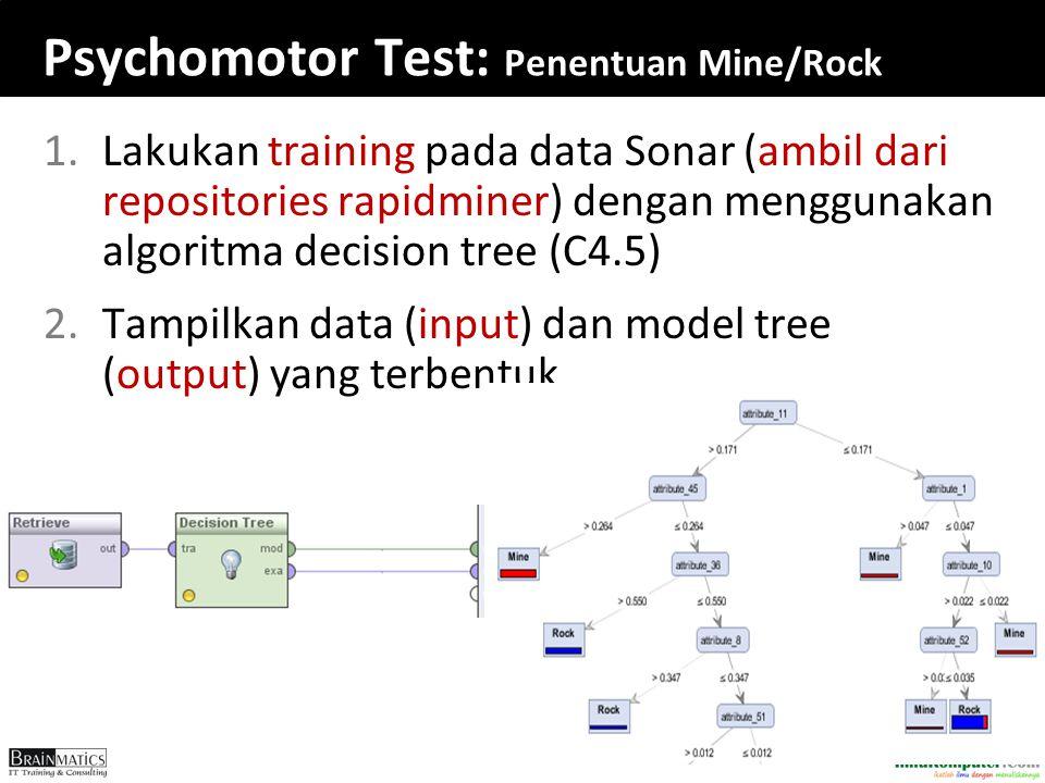 Psychomotor Test: Penentuan Mine/Rock 1.Lakukan training pada data Sonar (ambil dari repositories rapidminer) dengan menggunakan algoritma decision tr