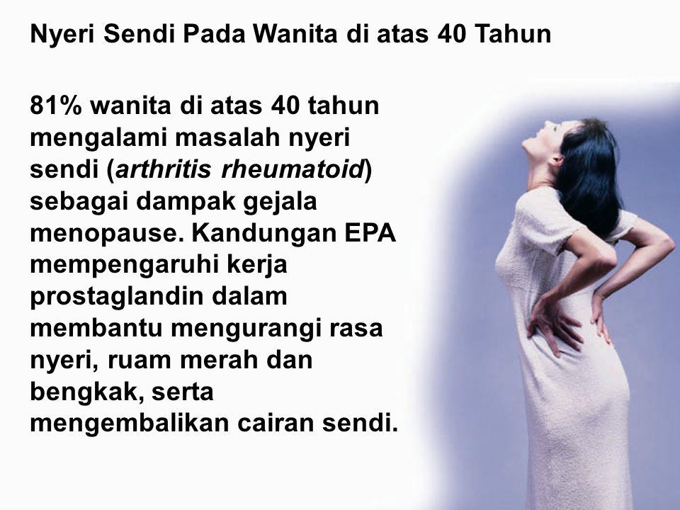 81% wanita di atas 40 tahun mengalami masalah nyeri sendi (arthritis rheumatoid) sebagai dampak gejala menopause. Kandungan EPA mempengaruhi kerja pro