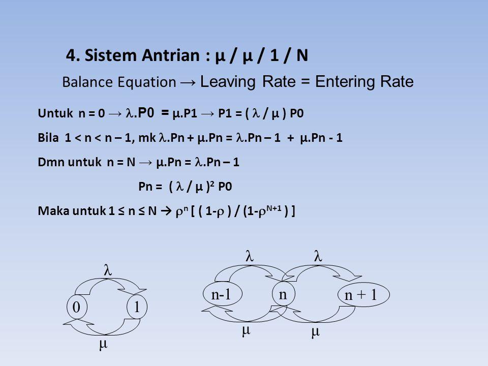 4. Sistem Antrian : μ / μ / 1 / N 0 1 λ μ λλ n-1 n n + 1 μ μ Balance Equation → Leaving Rate = Entering Rate Untuk n = 0 →.P0 = µ.P1 → P1 = ( / µ ) P0
