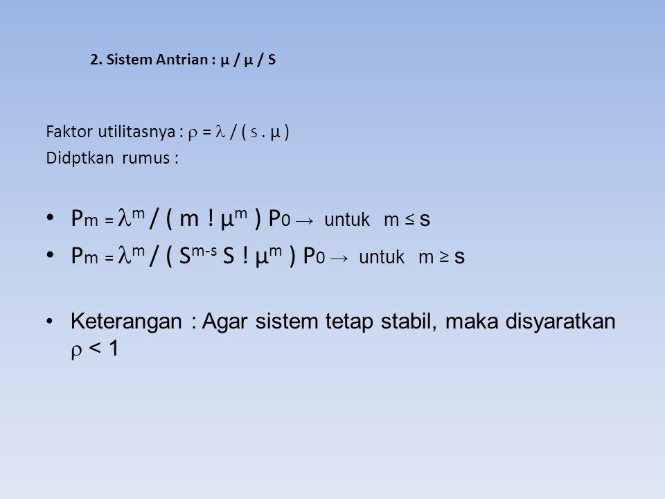 2. Sistem Antrian : μ / μ / S Faktor utilitasnya :  = / ( S. µ ) Didptkan rumus : P m = m / ( m ! µ m ) P 0 → untuk m ≤ s P m = m / ( S m-s S ! µ m )