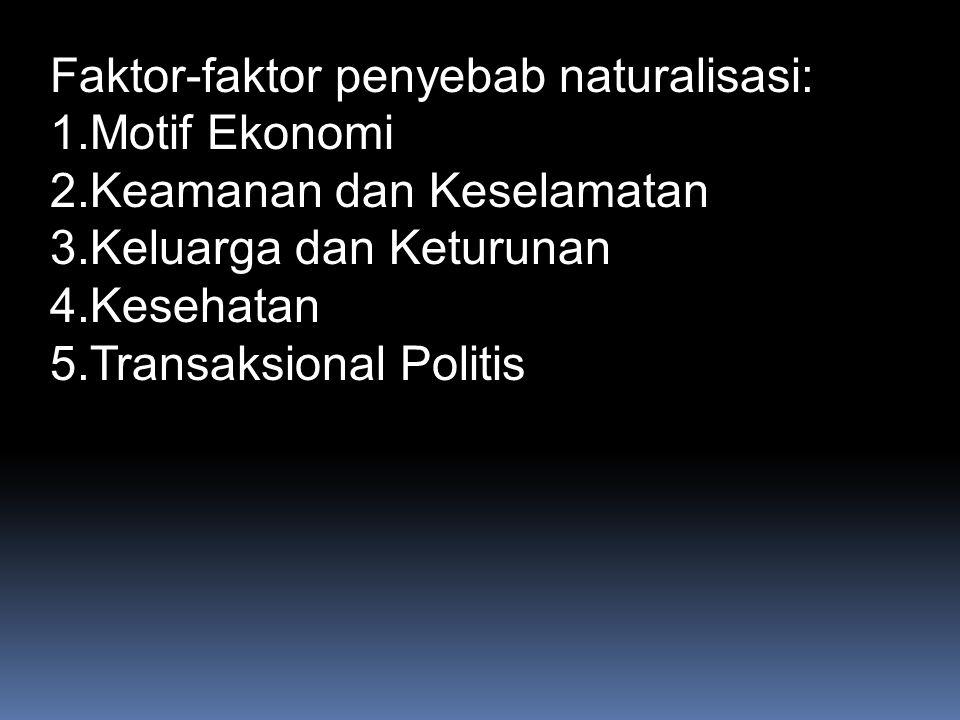 Faktor-faktor penyebab naturalisasi: 1.Motif Ekonomi 2.Keamanan dan Keselamatan 3.Keluarga dan Keturunan 4.Kesehatan 5.Transaksional Politis