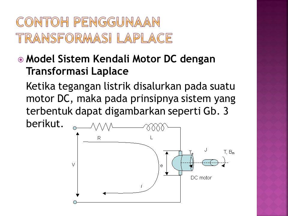  Model Sistem Kendali Motor DC dengan Transformasi Laplace Ketika tegangan listrik disalurkan pada suatu motor DC, maka pada prinsipnya sistem yang t