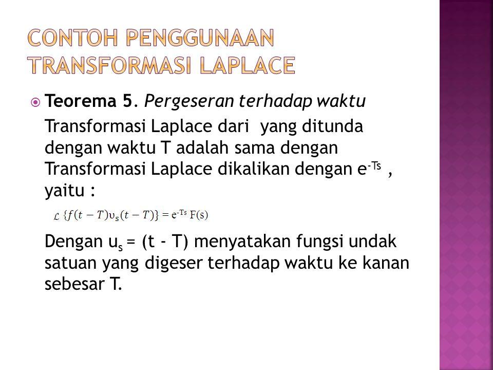  Teorema 5. Pergeseran terhadap waktu Transformasi Laplace dari yang ditunda dengan waktu T adalah sama dengan Transformasi Laplace dikalikan dengan