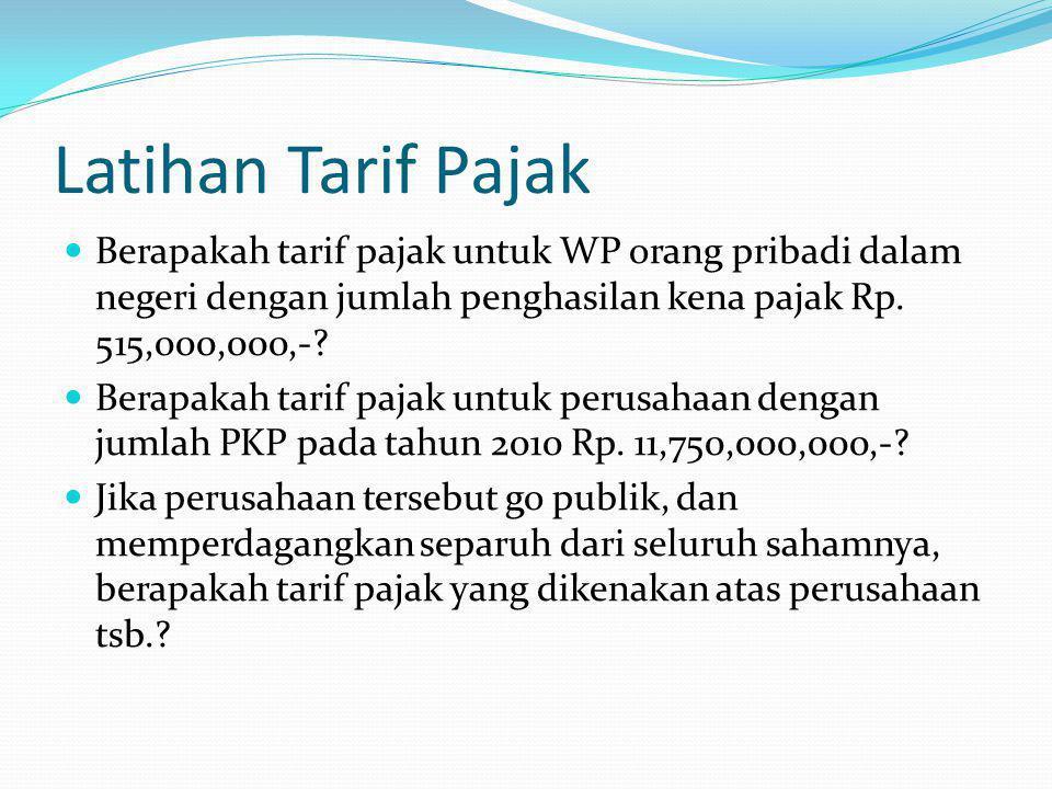 Latihan Tarif Pajak Berapakah tarif pajak untuk WP orang pribadi dalam negeri dengan jumlah penghasilan kena pajak Rp. 515,000,000,-? Berapakah tarif