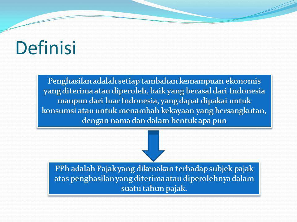 Definisi Penghasilan adalah setiap tambahan kemampuan ekonomis yang diterima atau diperoleh, baik yang berasal dari Indonesia maupun dari luar Indones