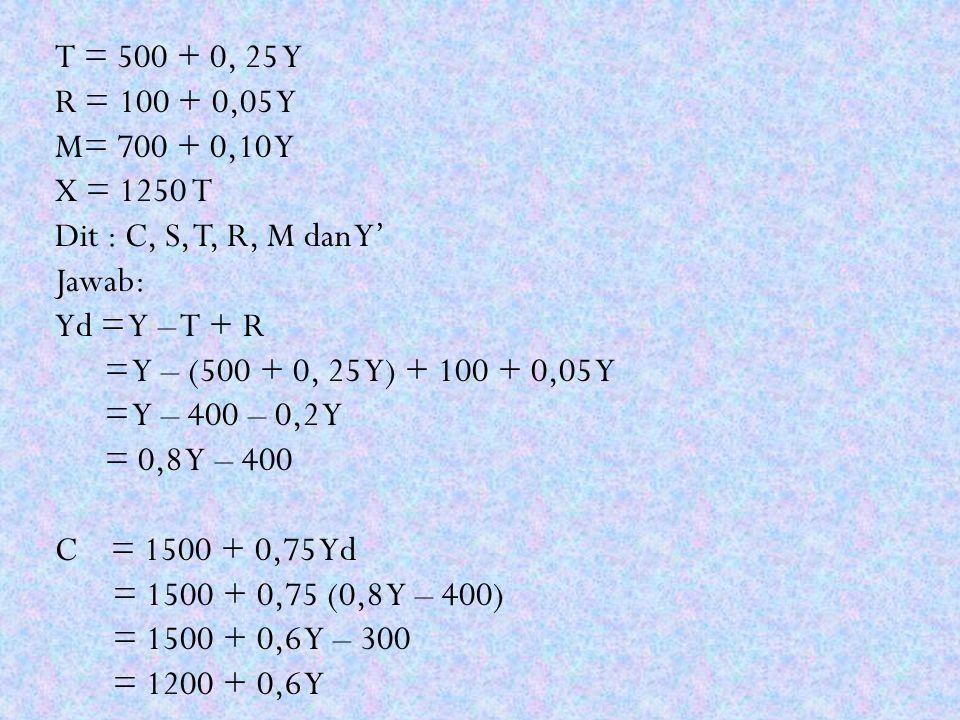 T = 500 + 0, 25 Y R = 100 + 0,05 Y M= 700 + 0,10 Y X = 1250 T Dit : C, S, T, R, M dan Y' Jawab: Yd = Y – T + R = Y – (500 + 0, 25 Y) + 100 + 0,05 Y =