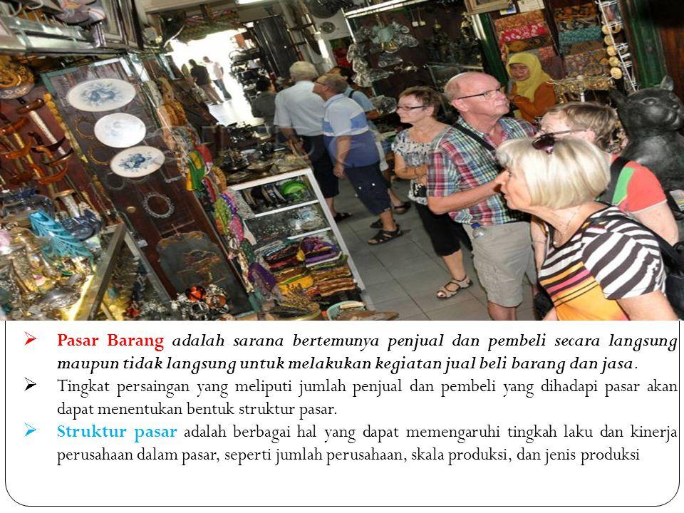  Pasar Barang adalah sarana bertemunya penjual dan pembeli secara langsung maupun tidak langsung untuk melakukan kegiatan jual beli barang dan jasa.