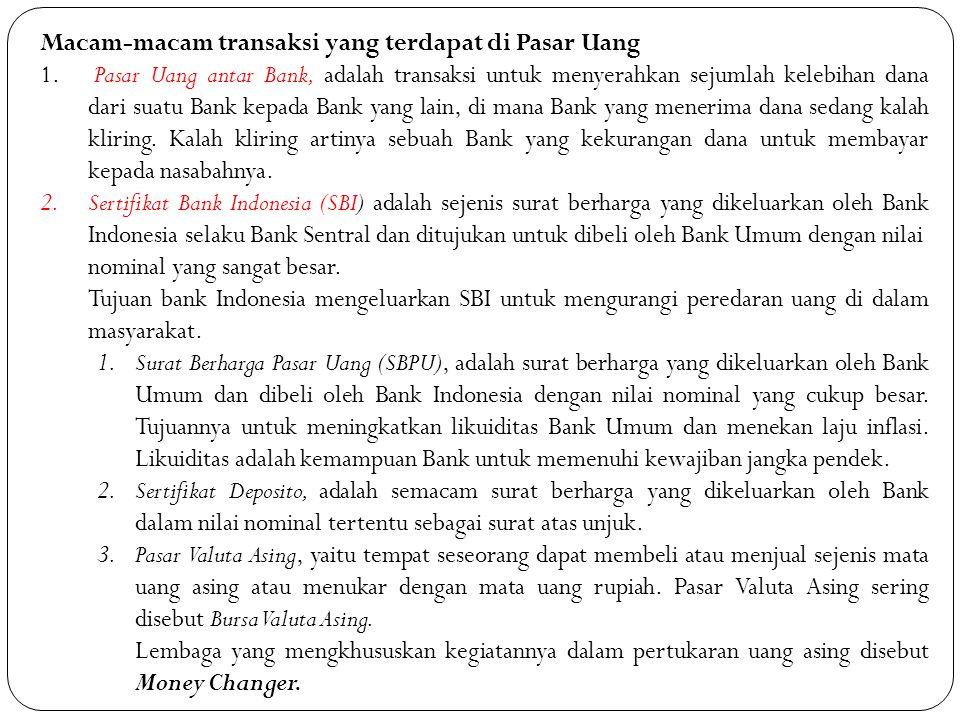 Macam-macam transaksi yang terdapat di Pasar Uang 1. Pasar Uang antar Bank, adalah transaksi untuk menyerahkan sejumlah kelebihan dana dari suatu Bank