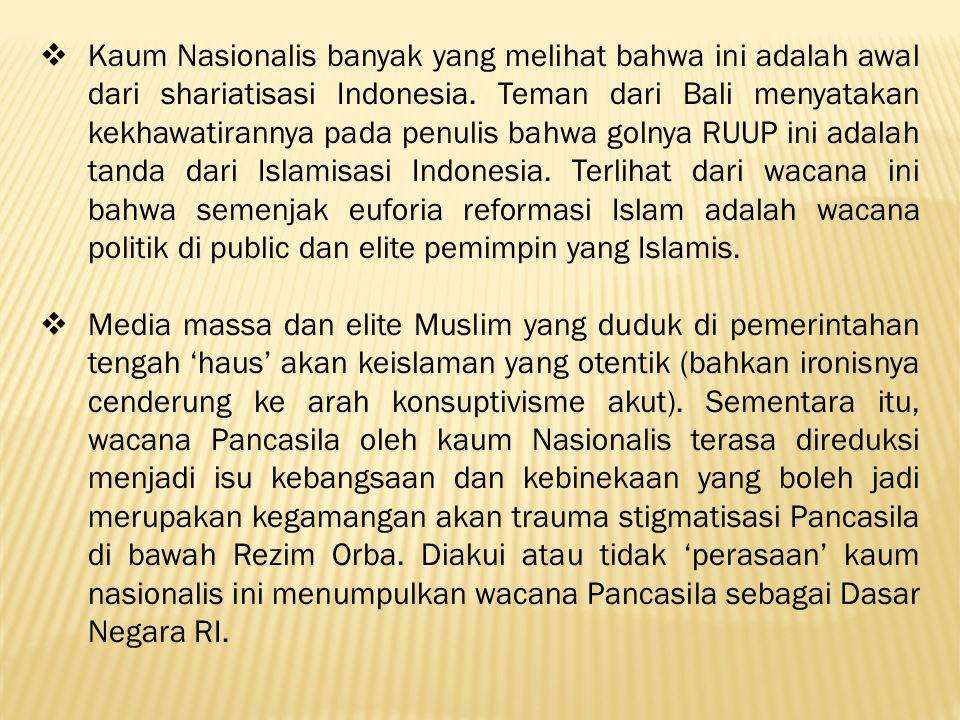  Kalau kita menengok kembali perdebatan tentang Pancasila sebagai Dasar Negara NKRI di sidang Konstituante 1957, tampak jelas bahwa keberatan kaum agama lain terhadap klaim keunggulan Islam sebagai Dasar Negara adalah Islam dalam sejarahnya di dunia maupun di Indonesia masih mengandung ketidakadilan dalam artian demokrasi modern.