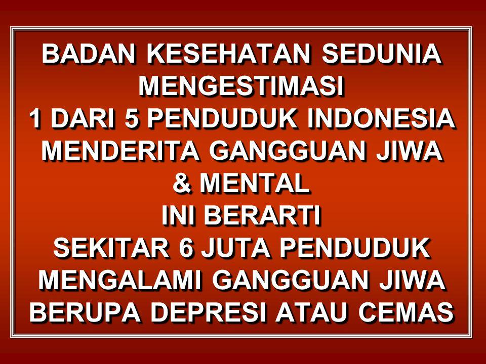 Menurut Ketua Umum Federasi Mental Indonesia Sekitar 17% - 22% remaja menderita gangguan jiwa