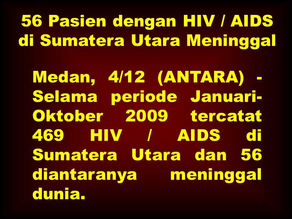 56 Pasien dengan HIV / AIDS di Sumatera Utara Meninggal Medan, 4/12 (ANTARA) - Selama periode Januari-Oktober 2009 tercatat 469 HIV / AIDS di Sumatera Utara dan 56 diantaranya meninggal dunia.