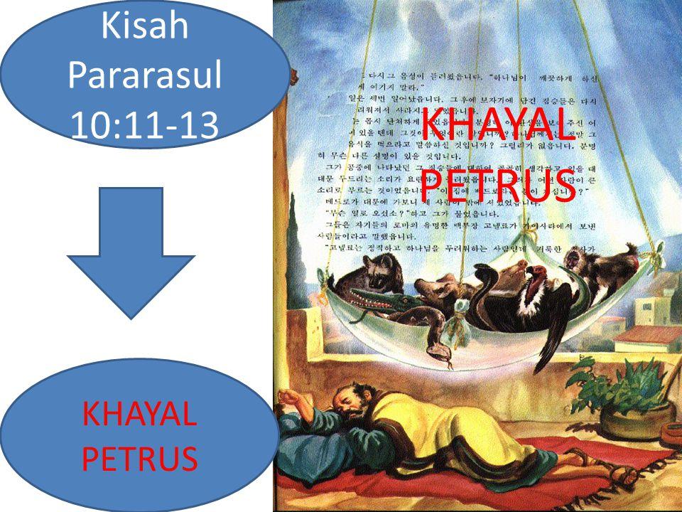 Kisah 10:11 Tampak olehnya langit terbuka dan turunlah suatu benda berbentuk kain lebar yang bergantung pada keempat sudutnya, yang diturunkan ke tanah.