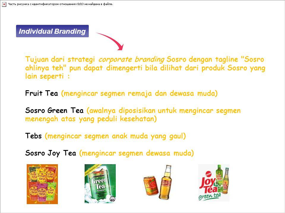 Tujuan dari strategi corporate branding Sosro dengan tagline Sosro ahlinya teh pun dapat dimengerti bila dilihat dari produk Sosro yang lain seperti : Fruit Tea (mengincar segmen remaja dan dewasa muda) Sosro Green Tea (awalnya diposisikan untuk mengincar segmen menengah atas yang peduli kesehatan) Tebs (mengincar segmen anak muda yang gaul) Sosro Joy Tea (mengincar segmen dewasa muda) Individual Branding