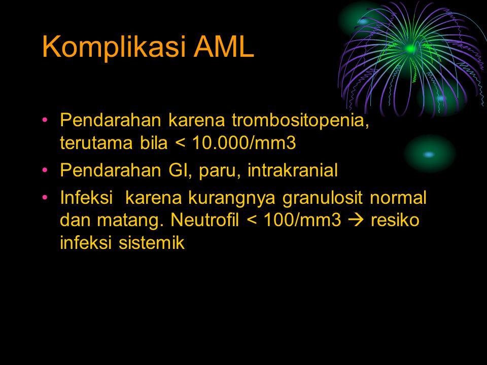 Komplikasi AML Pendarahan karena trombositopenia, terutama bila < 10.000/mm3 Pendarahan GI, paru, intrakranial Infeksi karena kurangnya granulosit nor