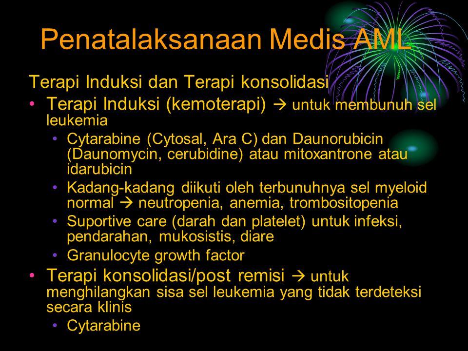Penatalaksanaan Medis AML Terapi Induksi dan Terapi konsolidasi Terapi Induksi (kemoterapi)  untuk membunuh sel leukemia Cytarabine (Cytosal, Ara C)