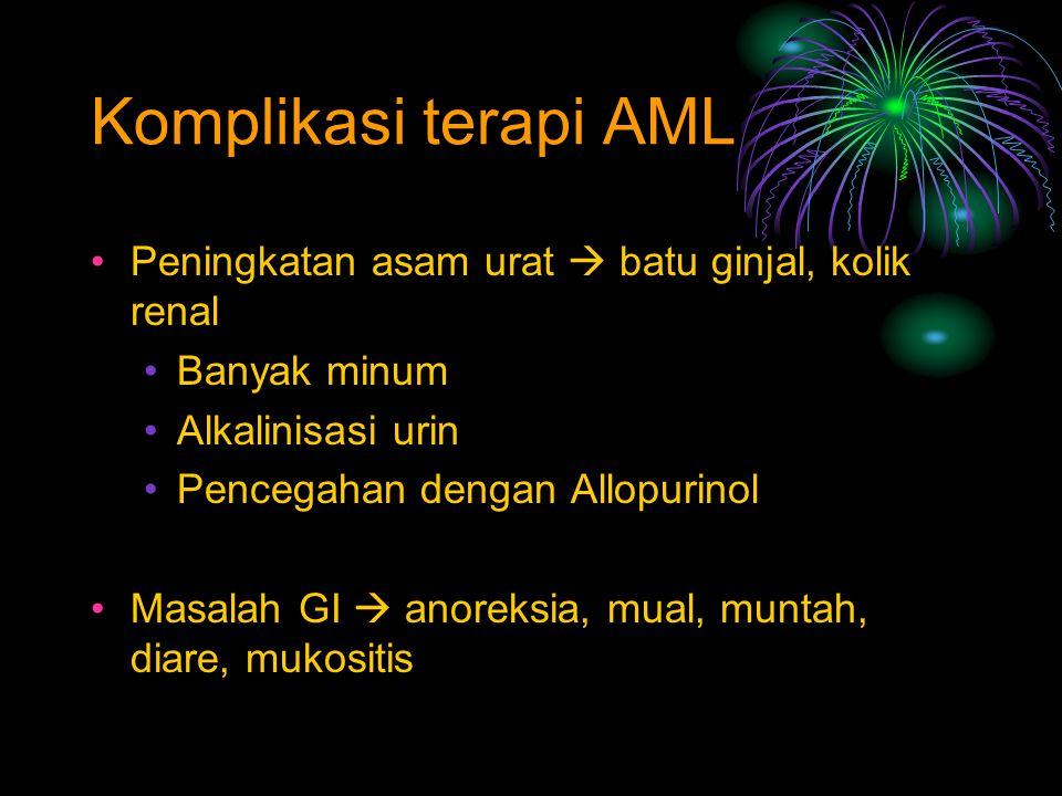 Komplikasi terapi AML Peningkatan asam urat  batu ginjal, kolik renal Banyak minum Alkalinisasi urin Pencegahan dengan Allopurinol Masalah GI  anore