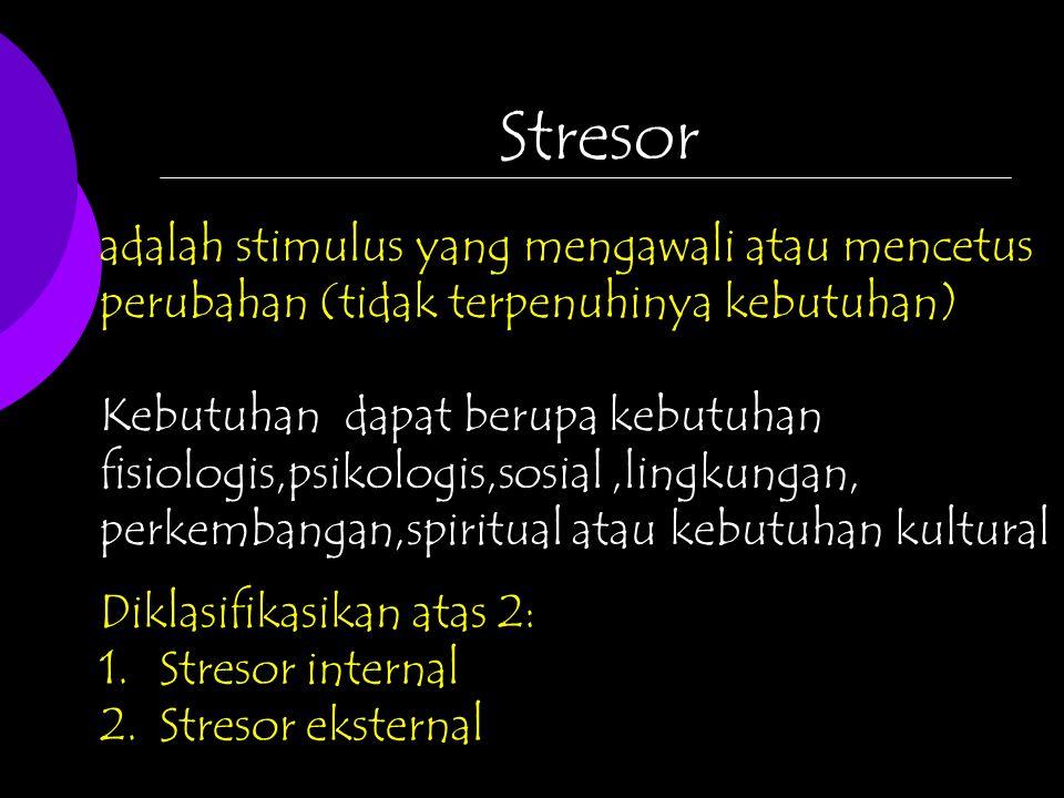 Stresor adalah stimulus yang mengawali atau mencetus perubahan (tidak terpenuhinya kebutuhan) Kebutuhan dapat berupa kebutuhan fisiologis,psikologis,sosial,lingkungan, perkembangan,spiritual atau kebutuhan kultural Diklasifikasikan atas 2: 1.Stresor internal 2.Stresor eksternal