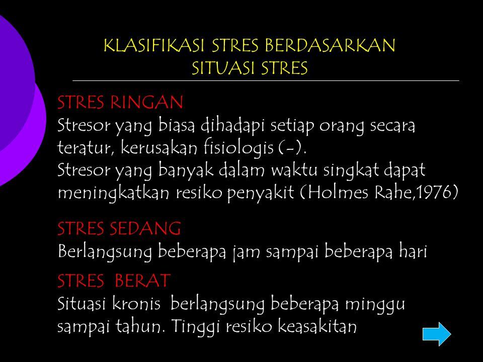 KLASIFIKASI STRES BERDASARKAN SITUASI STRES STRES RINGAN Stresor yang biasa dihadapi setiap orang secara teratur, kerusakan fisiologis (-). Stresor ya