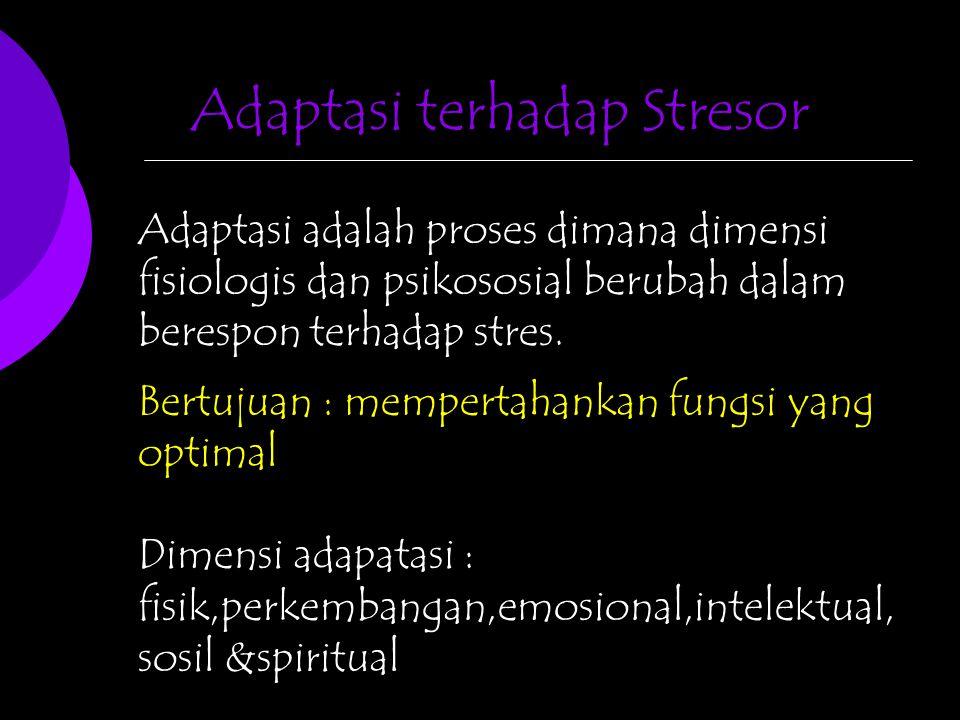 Adaptasi terhadap Stresor Adaptasi adalah proses dimana dimensi fisiologis dan psikososial berubah dalam berespon terhadap stres. Bertujuan : memperta