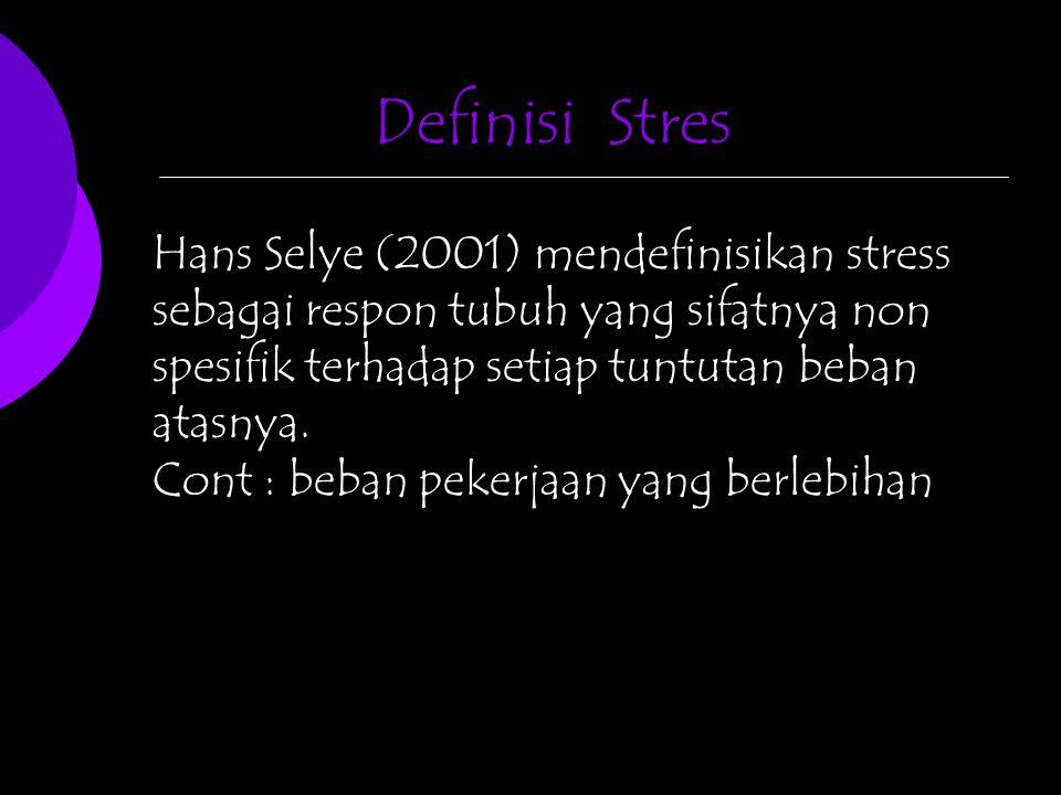 Hans Selye (2001) mendefinisikan stress sebagai respon tubuh yang sifatnya non spesifik terhadap setiap tuntutan beban atasnya. Cont : beban pekerjaan