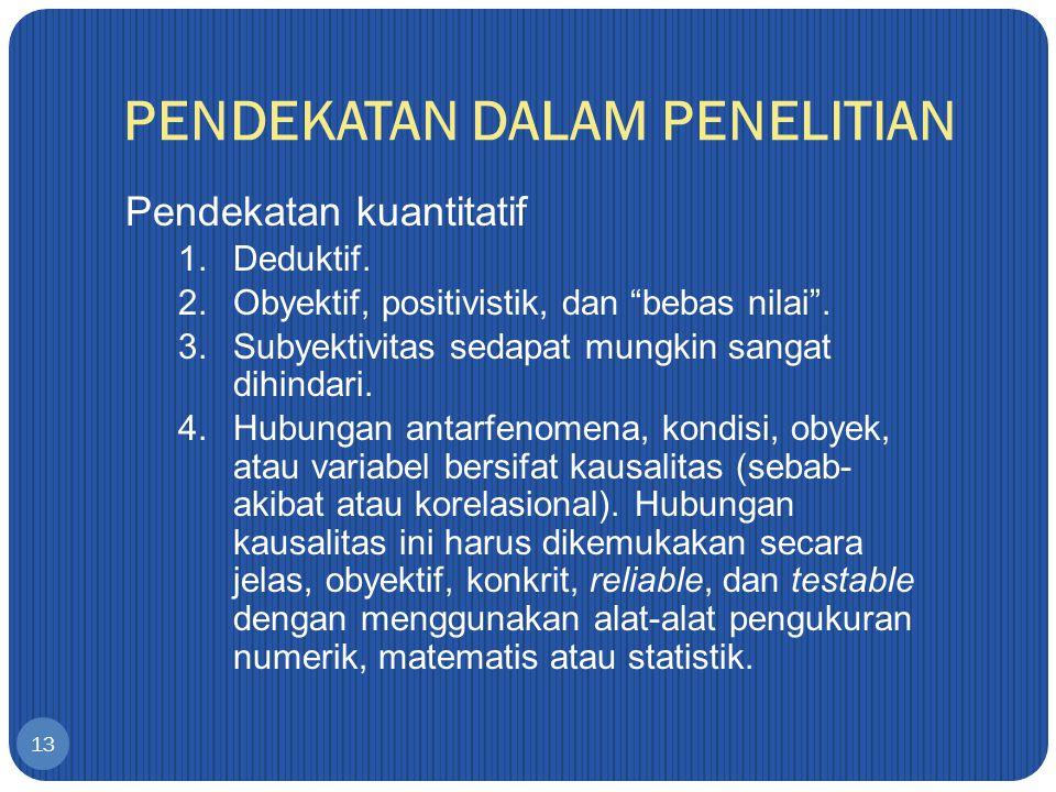 PENDEKATAN DALAM PENELITIAN 13 Pendekatan kuantitatif 1.Deduktif.