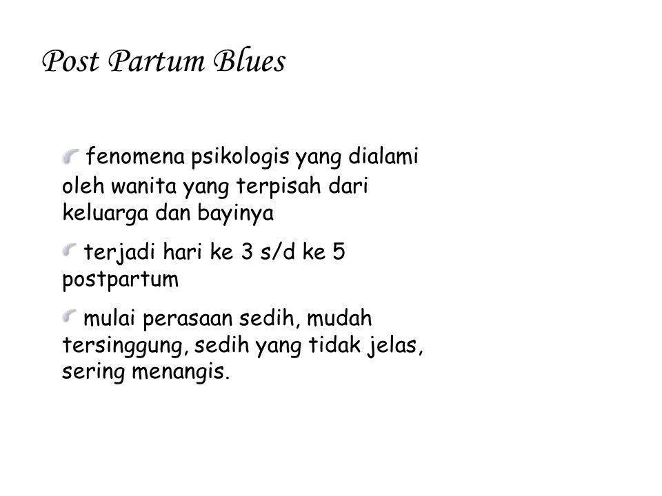 Post Partum Blues fenomena psikologis yang dialami oleh wanita yang terpisah dari keluarga dan bayinya terjadi hari ke 3 s/d ke 5 postpartum mulai per