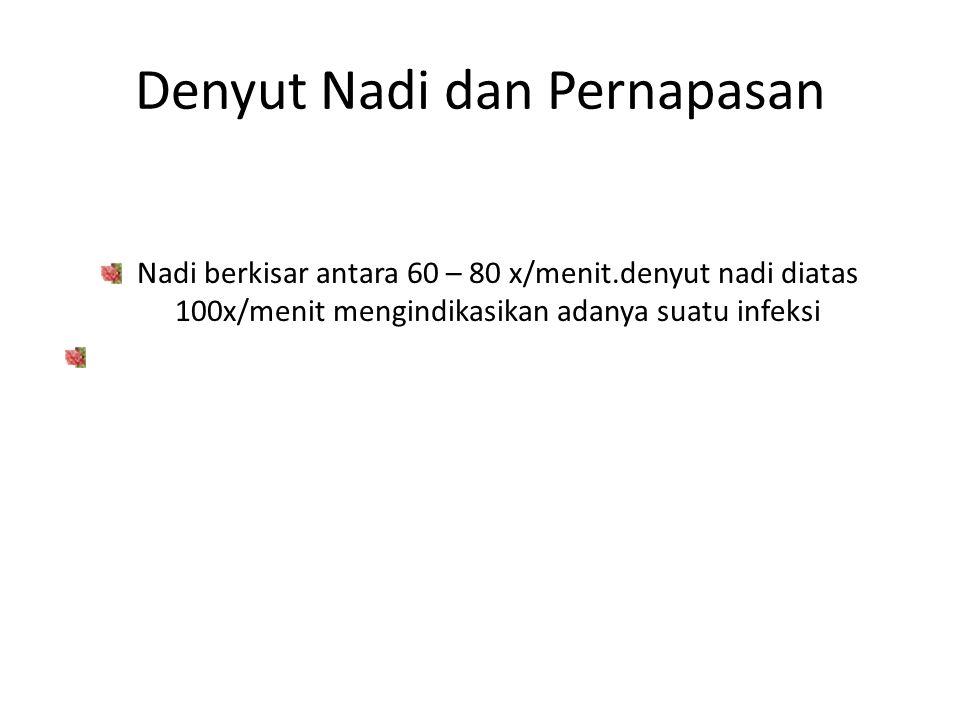 Denyut Nadi dan Pernapasan Nadi berkisar antara 60 – 80 x/menit.denyut nadi diatas 100x/menit mengindikasikan adanya suatu infeksi Pernapasan harus be