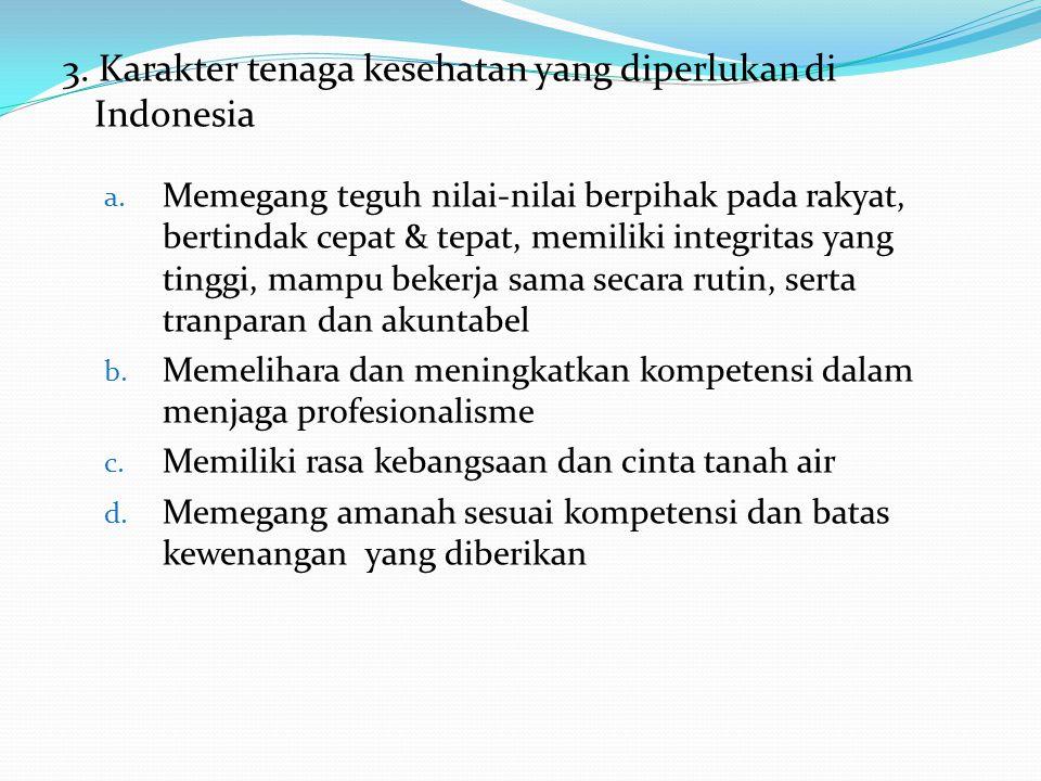3. Karakter tenaga kesehatan yang diperlukan di Indonesia a. Memegang teguh nilai-nilai berpihak pada rakyat, bertindak cepat & tepat, memiliki integr