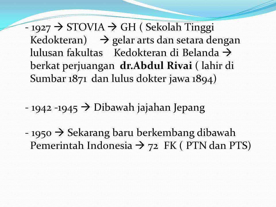 - 1927  STOVIA  GH ( Sekolah Tinggi Kedokteran)  gelar arts dan setara dengan lulusan fakultas Kedokteran di Belanda  berkat perjuangan dr.Abdul R