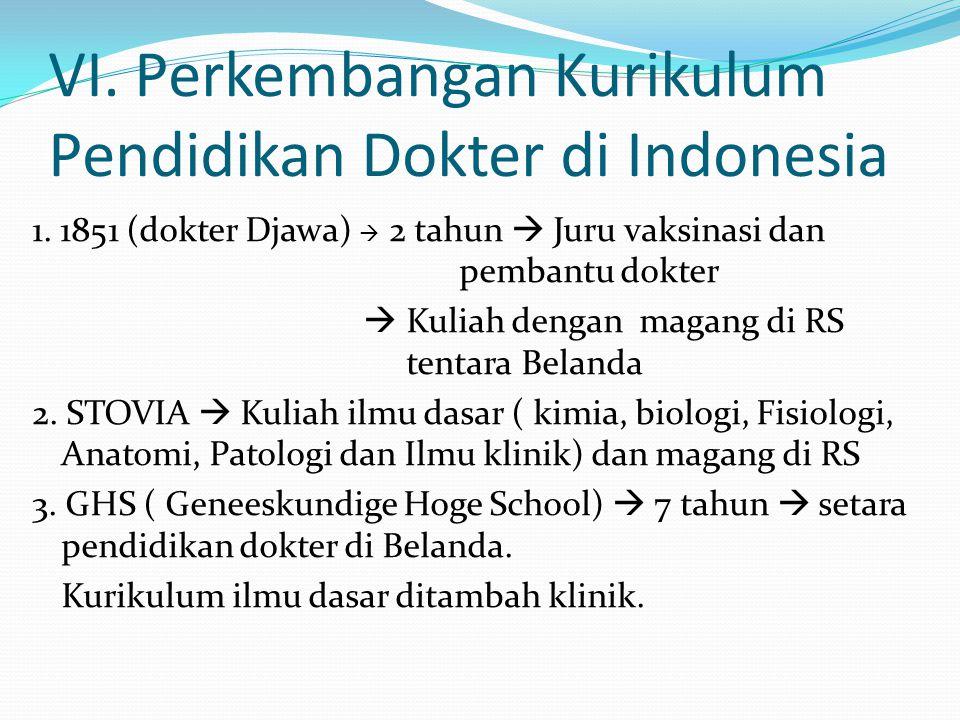VI. Perkembangan Kurikulum Pendidikan Dokter di Indonesia 1. 1851 (dokter Djawa)  2 tahun  Juru vaksinasi dan pembantu dokter  Kuliah dengan magang