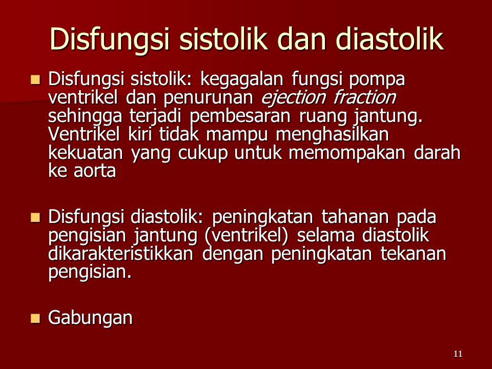 11 Disfungsi sistolik: kegagalan fungsi pompa ventrikel dan penurunan ejection fraction sehingga terjadi pembesaran ruang jantung.