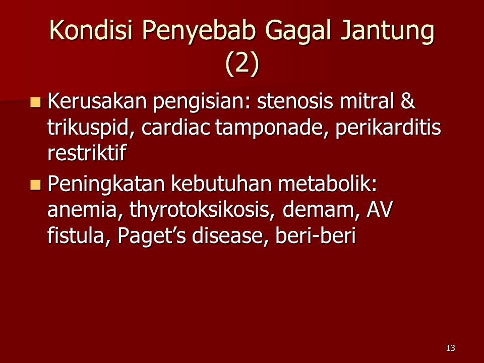 13 Kerusakan pengisian: stenosis mitral & trikuspid, cardiac tamponade, perikarditis restriktif Kerusakan pengisian: stenosis mitral & trikuspid, cardiac tamponade, perikarditis restriktif Peningkatan kebutuhan metabolik: anemia, thyrotoksikosis, demam, AV fistula, Paget's disease, beri-beri Peningkatan kebutuhan metabolik: anemia, thyrotoksikosis, demam, AV fistula, Paget's disease, beri-beri Kondisi Penyebab Gagal Jantung (2)