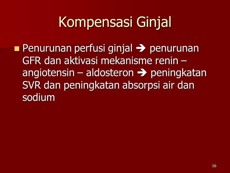16 Kompensasi Ginjal Penurunan perfusi ginjal  penurunan GFR dan aktivasi mekanisme renin – angiotensin – aldosteron  peningkatan SVR dan peningkata