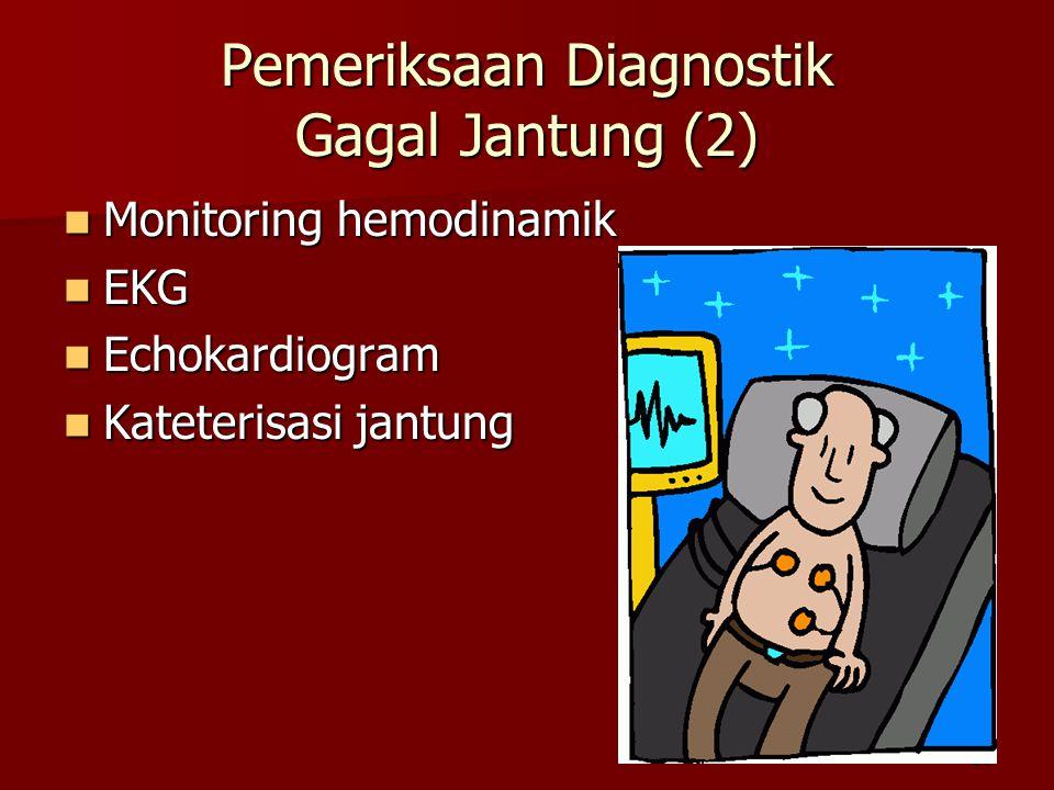 30 Pemeriksaan Diagnostik Gagal Jantung (2) Monitoring hemodinamik Monitoring hemodinamik EKG EKG Echokardiogram Echokardiogram Kateterisasi jantung Kateterisasi jantung
