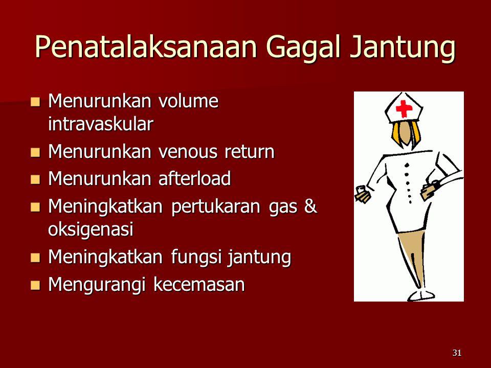 31 Penatalaksanaan Gagal Jantung Menurunkan volume intravaskular Menurunkan volume intravaskular Menurunkan venous return Menurunkan venous return Men