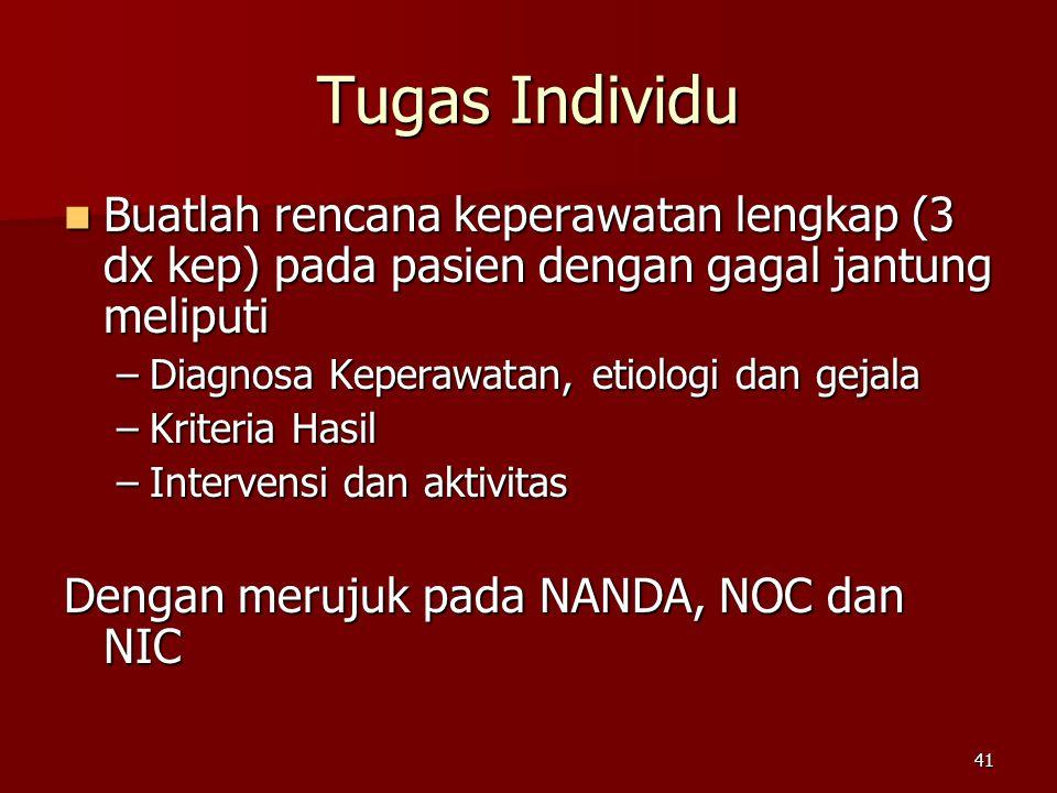 41 Tugas Individu Buatlah rencana keperawatan lengkap (3 dx kep) pada pasien dengan gagal jantung meliputi Buatlah rencana keperawatan lengkap (3 dx kep) pada pasien dengan gagal jantung meliputi –Diagnosa Keperawatan, etiologi dan gejala –Kriteria Hasil –Intervensi dan aktivitas Dengan merujuk pada NANDA, NOC dan NIC