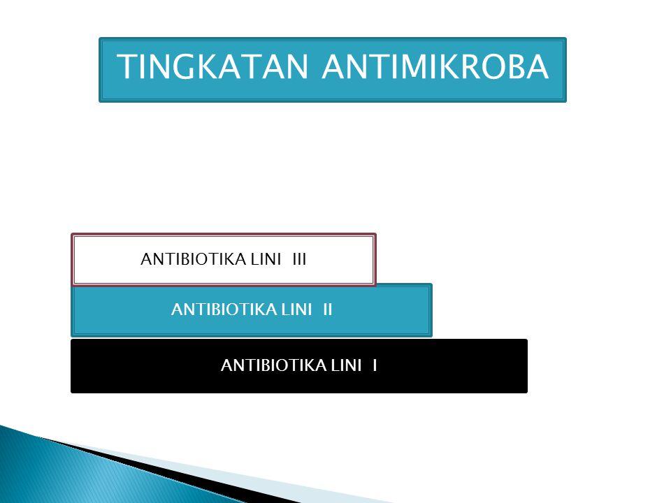 ANTIBIOTIKA LINI I ANTIBIOTIKA LINI II ANTIBIOTIKA LINI III TINGKATAN ANTIMIKROBA